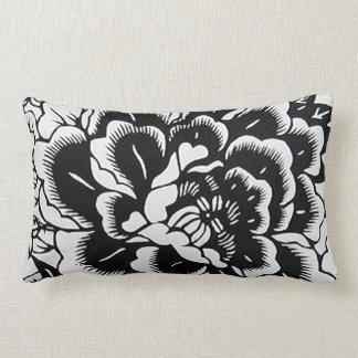 Peony chino en negro - almohada del Papel-Cut Cojín Lumbar