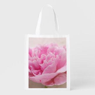 Peony closeup reusable grocery bag