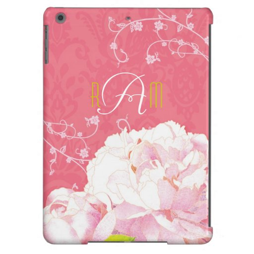 Peony, Coral Pink Damask Monogrammed iPad Air Case