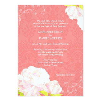 Peony + Damask Coral Reef Color Wedding Card