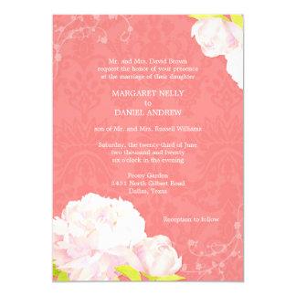 Peony + Damask Coral Reef Color Wedding Invitation