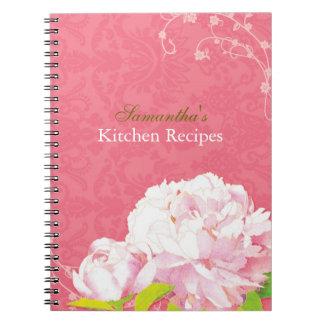 Peony del damasco y diario de la receta de la coci cuaderno