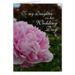 Peony del día de boda de la hija tarjeta de felicitación