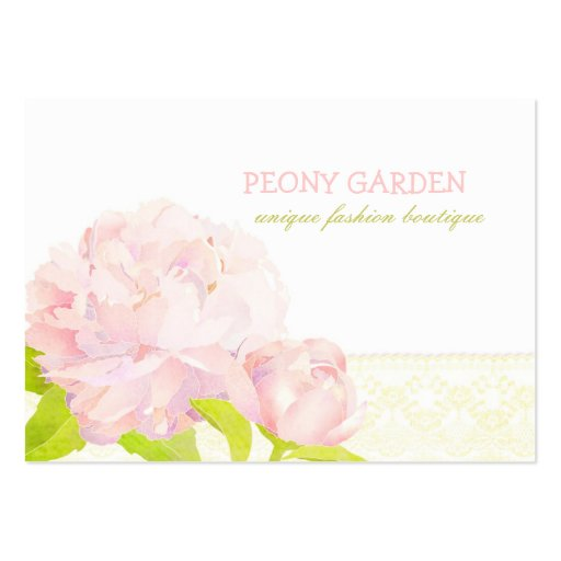 Peony + Faux Lace Elegant Fashion Business Cards