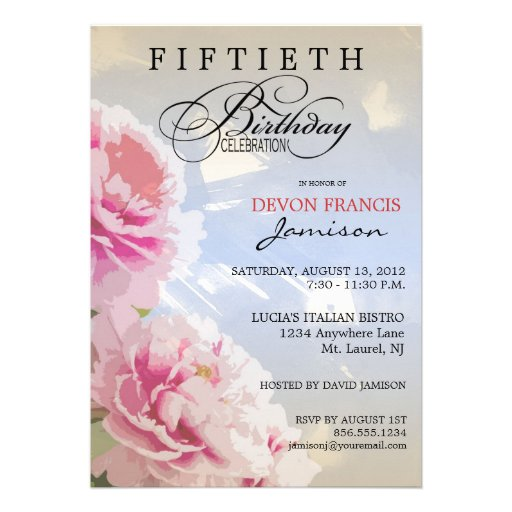 Peony Floral 50th Birthday Party Invitation Blue