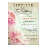 """Peony Floral 50th Birthday Party Invitation in Pin 5"""" X 7"""" Invitation Card"""