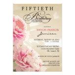 Peony Floral 50th Birthday Party Invitation Tan