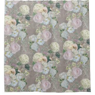Peony floral contrapesado del vintage del mercado cortina de baño