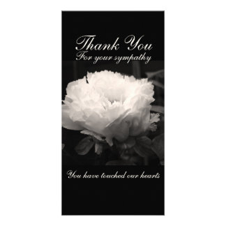 Peony Floral Photo Sympathy Thank You Cards