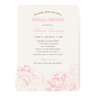 Peony floral rosado nupcial de la invitación el