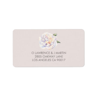 Peony Floral Watercolor Mauve Label