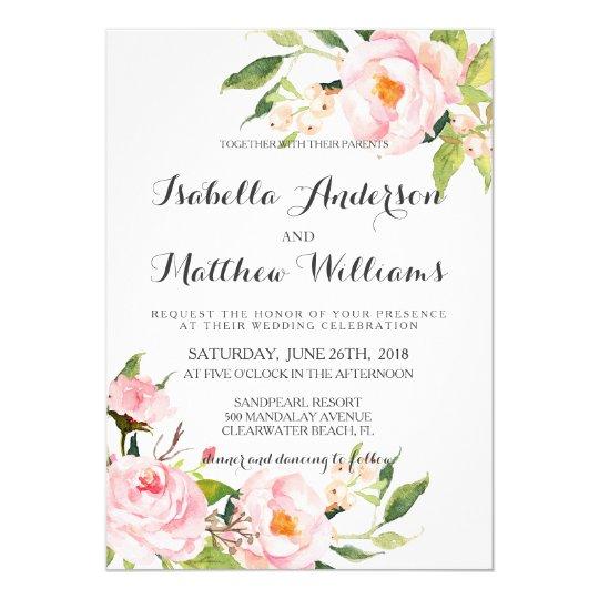 Rustic Watercolor Peony Wedding Invitation
