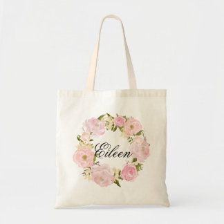 Peony Floral Wreath Wedding Welcome Tote Bag