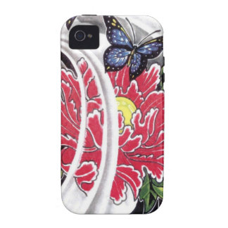 Peony Flower and Butterfly Tattoo Design iPhone 4 Case