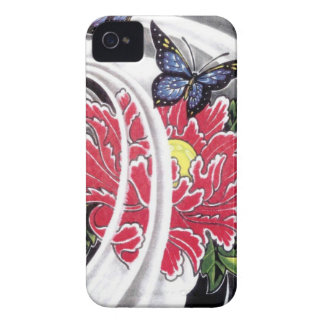 Peony Flower and Butterfly Tattoo Design Case-Mate iPhone 4 Case