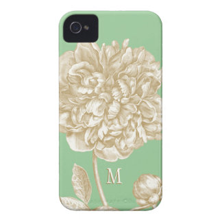 Peony Flower Botanical Mint and Gold Monogrammed iPhone 4 Case-Mate Cases