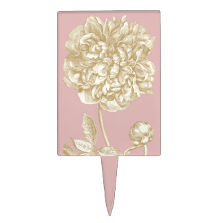 Peony Flower Botanical, Pink and Gold Cake Topper