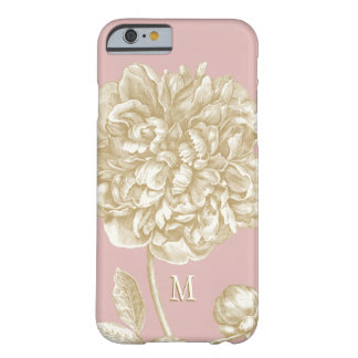 Peony Flower Botanical, Pink and Gold Monogrammed Barely There iPhone 6 Case