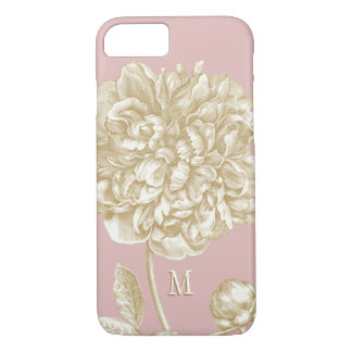 Peony Flower Botanical, Pink and Gold Monogrammed iPhone 8/7 Case