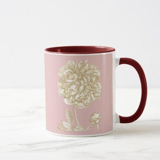 Peony Flower Botanical, Pink and Gold Mug