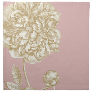 Peony Flower Botanical, Pink and Gold Cloth Napkins