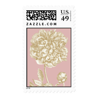 Peony Flower Botanical, Pink and Gold Postage Stamp