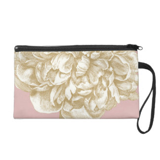 Peony Flower Botanical, Pink and Gold Wristlet