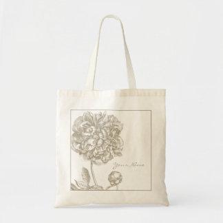 Peony Flower Botanical Tote Bag
