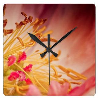 Peony Flower Square Wall Clock