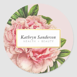 PEONY FLOWER eco vintage look  floral stylish pink Classic Round Sticker