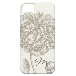 Peony Flower in Shades of White, Monogrammed iPhone SE/5/5s Case