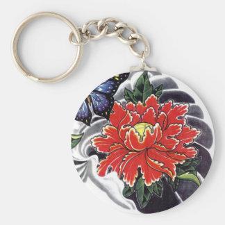 Peony Flower Japanese tattoo design Key Chain