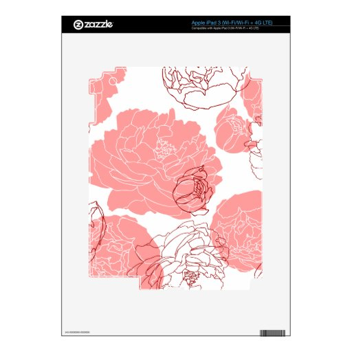 Peony Flower Motif Zazzle Skin iPad 3 Decal