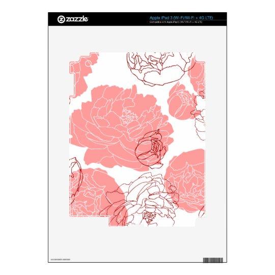 Peony Flower Motif Zazzle Skin iPad 3 Skins