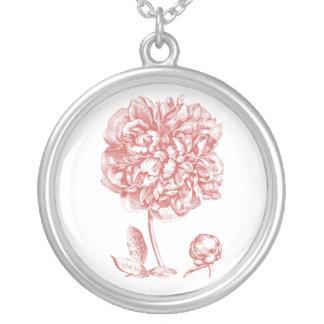 Peony Flower Round Pendant Necklace