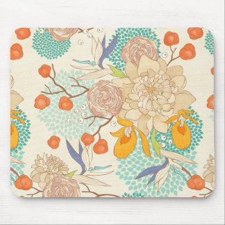 Peony Flower Pattern Mouse Pad