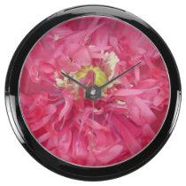 Peony flower petals aqua clock