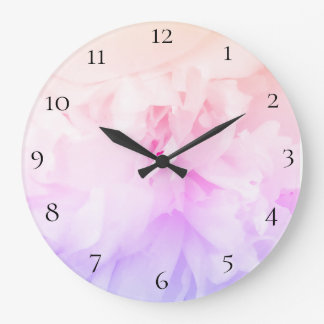 *~* Peony Flower Photo with Pink Lavender Large Clock
