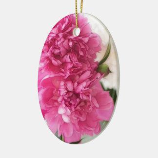 Peony Flowers Close-up Sketch Ceramic Ornament