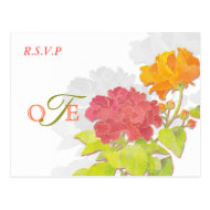 Peony Flowers, Silhouettes Wedding RSVP (4.25x5.6) Post Cards