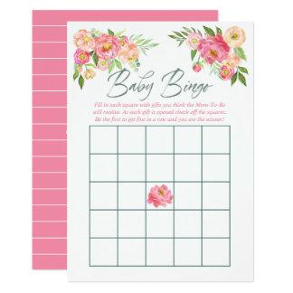 Peony flowers Spring Baby Shower Baby Bingo Card