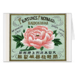Peony Flowers Vintage Japanese Silk Label Cards