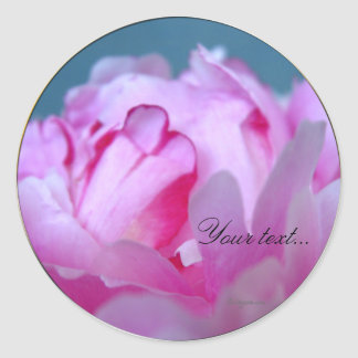 Peony Flowers Wedding Invitation Seals Classic Round Sticker