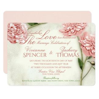 Peony Garden Romance Wedding Card