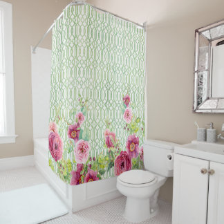 Peony Garden Trellis Pink Burgundy Rose Watercolor Shower Curtain