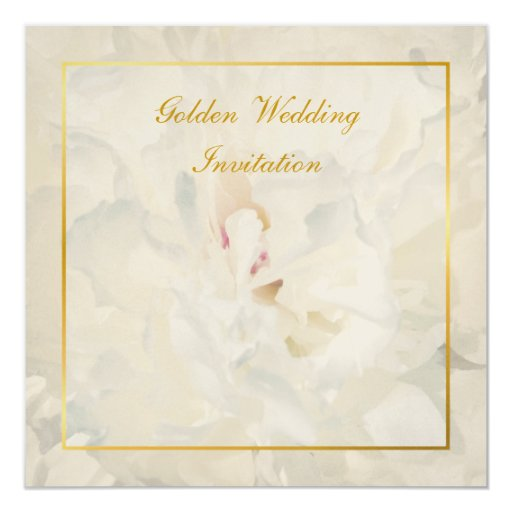 Golden Wedding Anniversary Gift Experiences : Peony Golden Wedding Anniversary invitation Zazzle