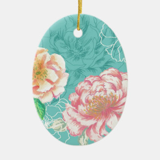 peony hand painted original floral design ceramic ornament