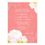 Peony + Invitación del boda del color del arrecife