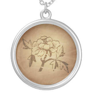 Peony Love and Affection Chinese Magic Charms Round Pendant Necklace