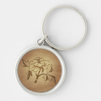 Peony Love and Affection Chinese Magic Charms Silver-Colored Round Keychain